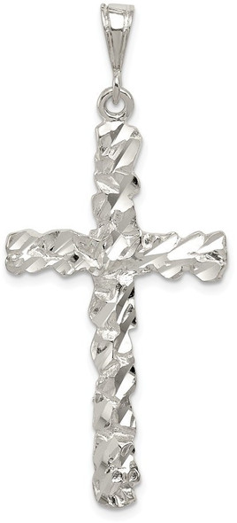 925 Sterling Silver Diamond-Cut Cross Pendant QC480