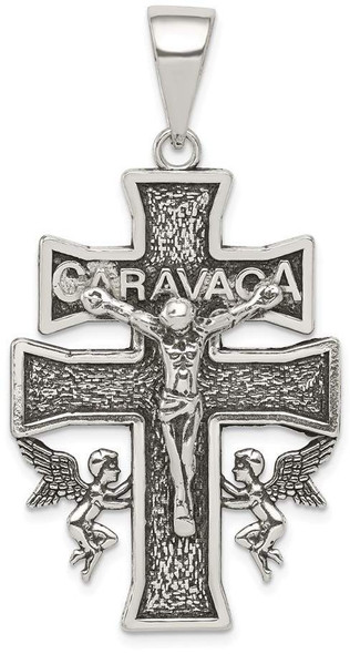 925 Sterling Silver Antiqued Large Caravaca Inri Crucifix Cross Pendant