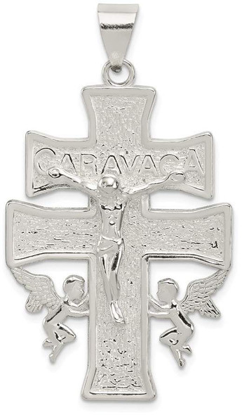 925 Sterling Silver Polished Large Caravaca Inri Crucifix Cross Pendant