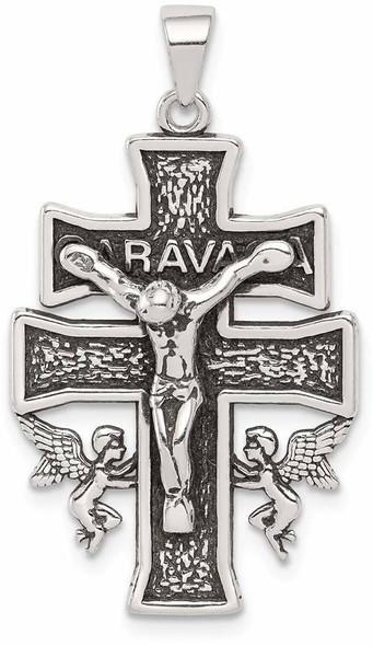 925 Sterling Silver Antiqued Mini Caravaca Crucifix Pendant