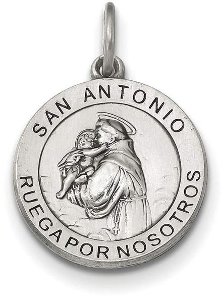 925 Sterling Silver Satin Antiqued Spanish St. Anthony Medal Pendant