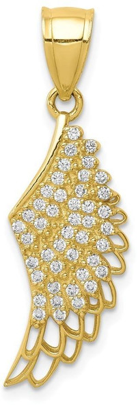 10k Yellow Gold Cubic Zirconia Micropave Angel Wing Pendant