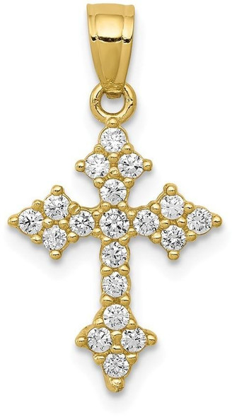 10k Yellow Gold Cubic Zirconia Passion Cross Pendant