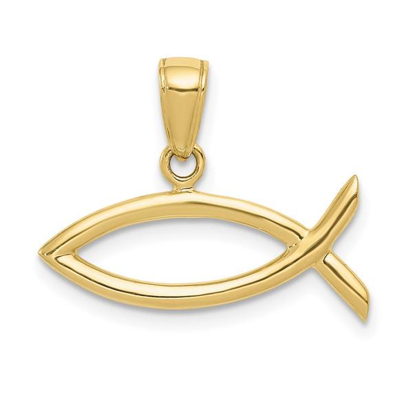 10k Yellow Gold Ichthus Fish Pendant