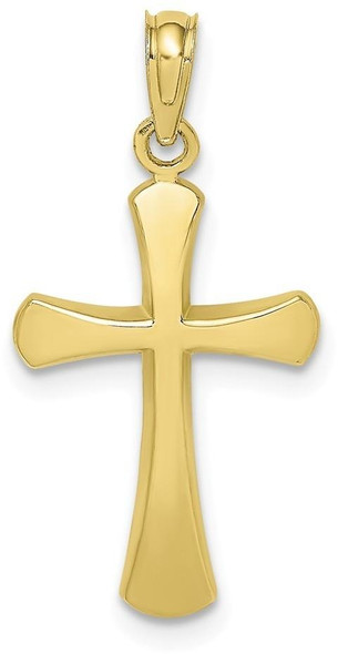 10k Yellow Gold Polished Beveled Cross with Round Tips Pendant 10k8523