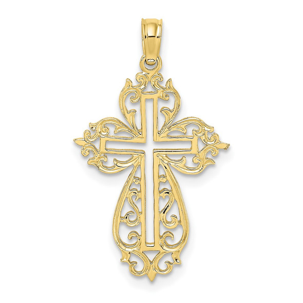 10k Yellow Gold Cut-Out Scroll Framed Cross Pendant