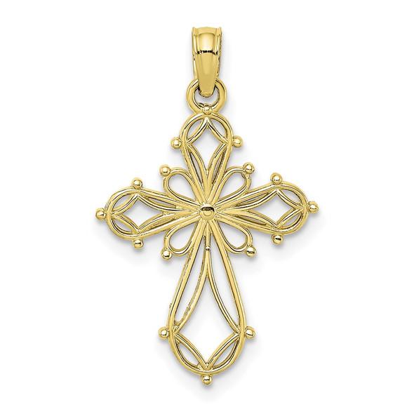 10k Yellow Gold Cut-Out Fancy Cross Pendant