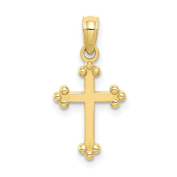 10k Yellow Gold Budded Cross Pendant