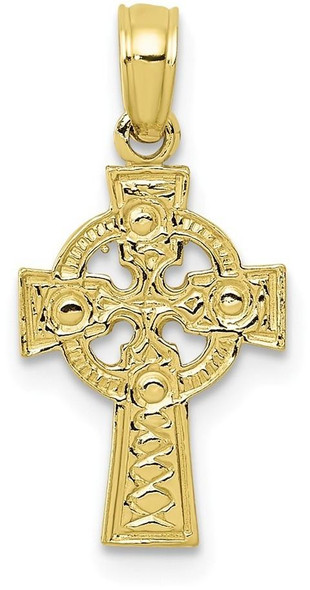 10k Yellow Gold Celtic Cross with Eternity Circle Pendant 10C4249