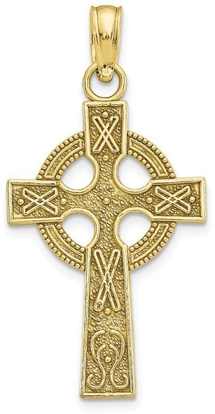 10k Yellow Gold Celtic Cross with Eternity Circle Pendant 10k5047