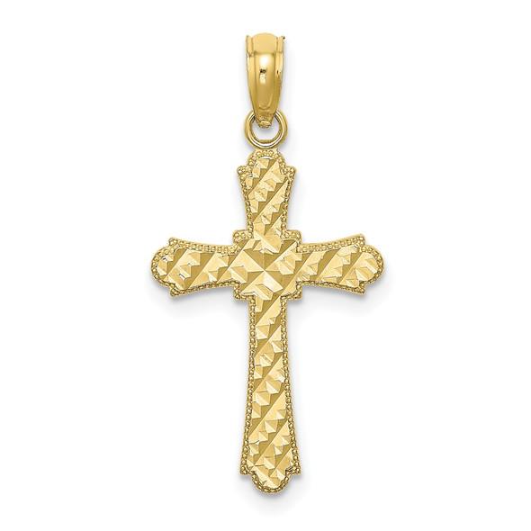 10k Yellow Gold Diamond-Cut Marquise-Shape Cross Pendant