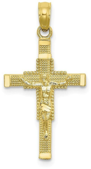 10k Yellow Gold Beaded Accent with Cross Behind Crucifix Pendant