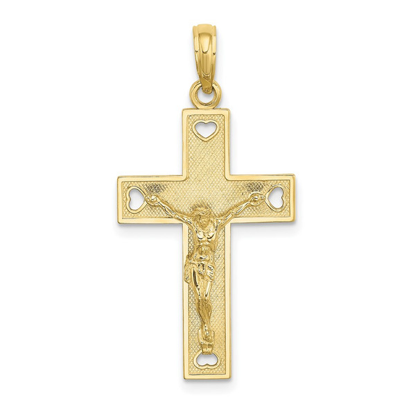 10k Yellow Gold Cut-Out Heart I Love Jesus Crucifix Pendant