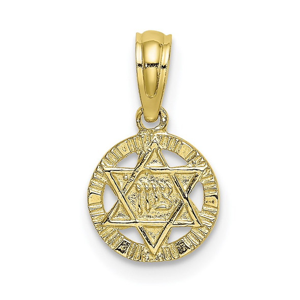 10k Yellow Gold Engraved Star Of David Pendant