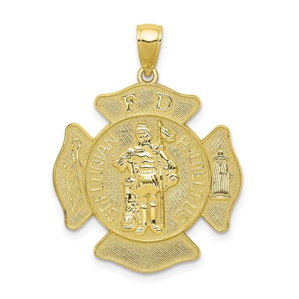 10k Yellow Gold St. Florian Protect Us/Fire Dept. Pendant 10C2257