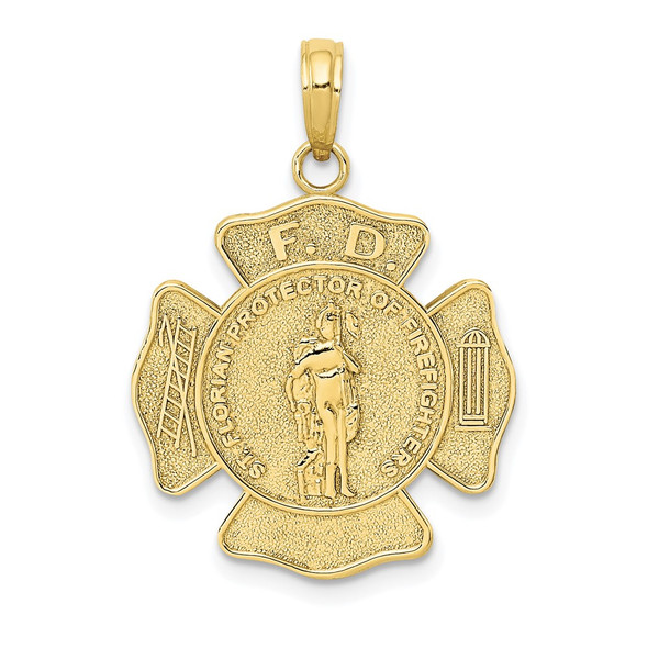 10k Yellow Gold St. Florian Protect Us/Fire Dept. Pendant 10k2842