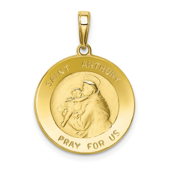 10k Yellow Gold Saint Anthony Small Round Medal Pendant