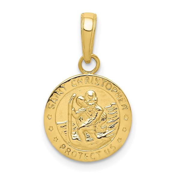 10k Yellow Gold Saint Christopher Medal Pendant