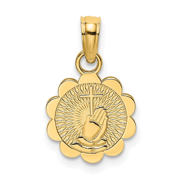 14k Yellow Gold Praying Hands and Cross On Scalloped Round Disk Pendant