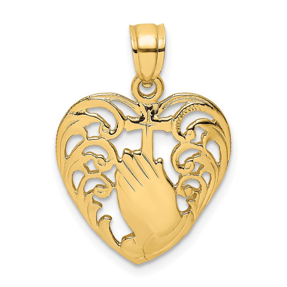 14k Yellow Gold 2-D Polished Praying Hands and Cross In Heart Pendant