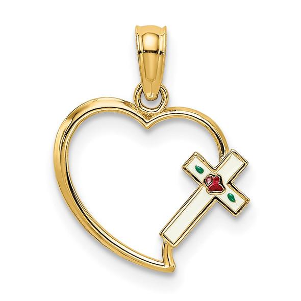 14k Yellow Gold Enamel Cross and Heart Pendant