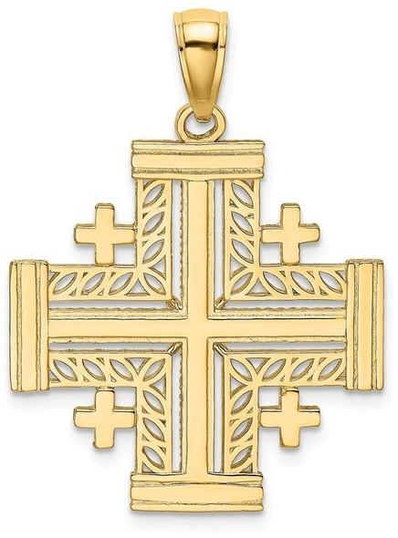 14k Yellow Gold Cut-Out Jerusalem Cross (Crusaders Cross) Pendant