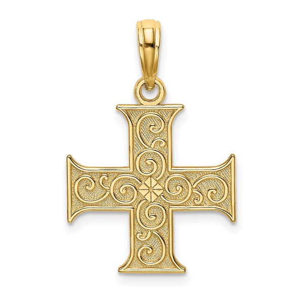 14k Yellow Gold Greek Cross With Swirl Design Pendant