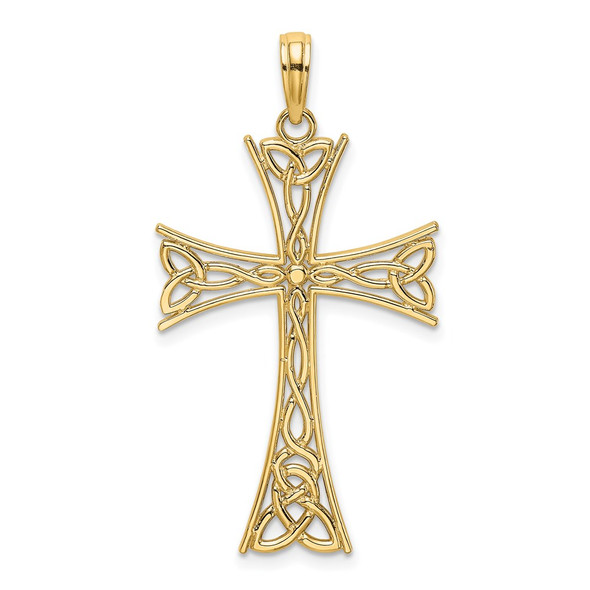 14k Yellow Gold Polished Celtic Knot Cross Pendant