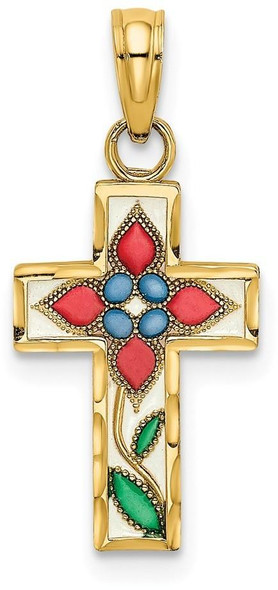 14k Yellow Gold Stained Glass with Flower Cross Pendant