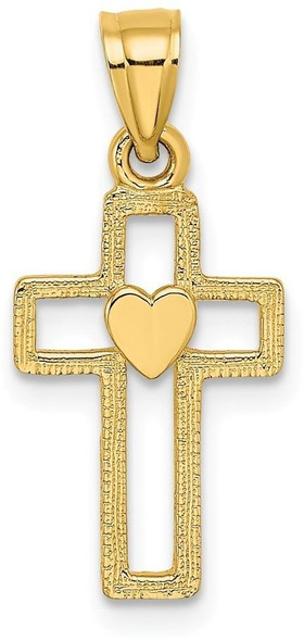 14k Yellow Gold Cut-Out Cross with Heart Pendant