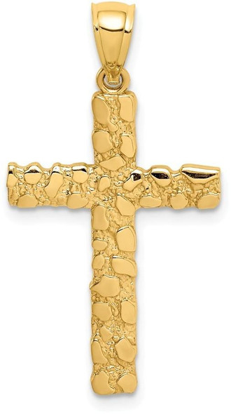 14k Yellow Gold Nugget Cross Pendant XR1833