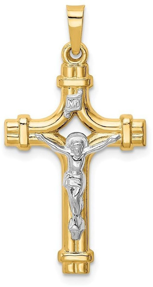14k Yellow Gold Two-Tone Polished INRI Crucifix Pendant