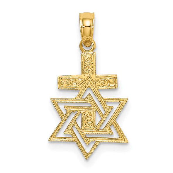 14k Yellow Gold Polished and Engraved Star Of David and Cross Pendant