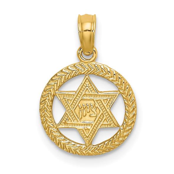14k Yellow Gold Engraved Star Of David In Circle Pendant