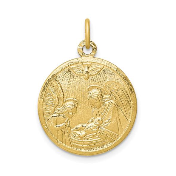 10k Yellow Gold Solid Satin Polished Baptism Disc Pendant