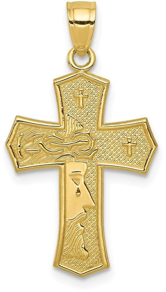 10k Yellow Gold Passion Cross with Jesus Reversible Pendant