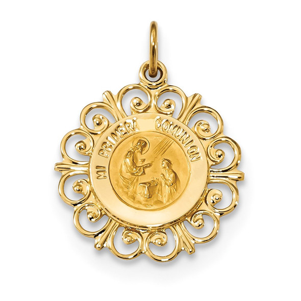 14k Yellow Gold Polished and Satin Spanish 1st Communion Medal Pendant XR1698