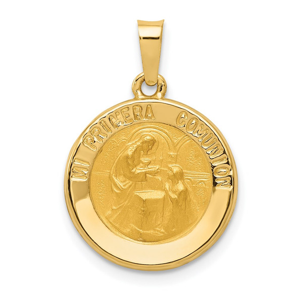 14k Yellow Gold Polished and Satin Spanish 1st Communion Medal Pendant XR1699