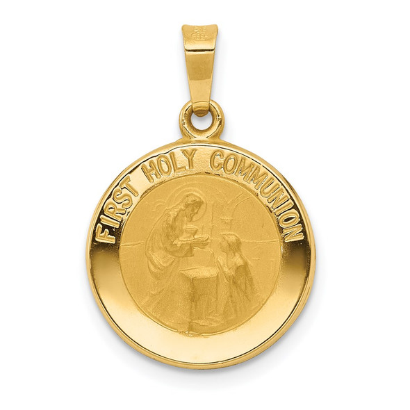 14k Yellow Gold Polished and Satin First Holy Communion Medal Pendant XR1388