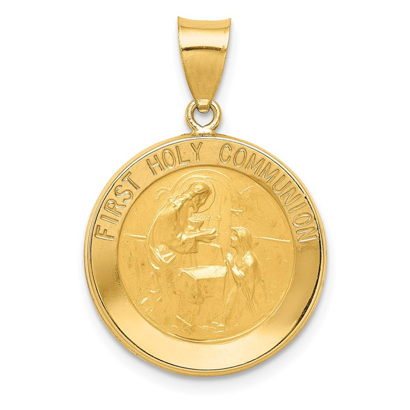 14k Yellow Gold Polished and Satin First Holy Communion Medal Pendant XR1389