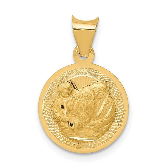 14k Yellow Gold Polished and Diamond-cut Baptism Circle Pendant K5676