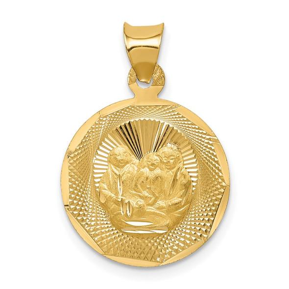 14k Yellow Gold Polished and Diamond-cut Baptism Circle Pendant K5677