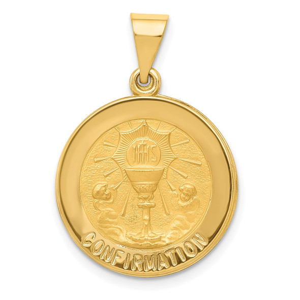 14k Yellow Gold Polished and Satin Confirmation Medal Pendant XR1391