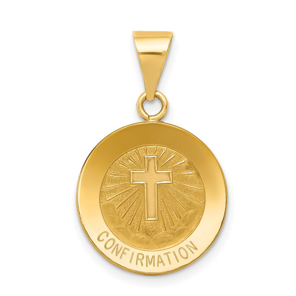 14k Yellow Gold Polished and Satin Confirmation Medal Pendant XR1393