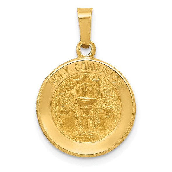 14k Yellow Gold Polished and Satin Holy Communion Medal Pendant