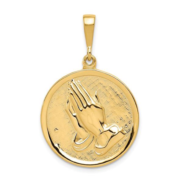 14k Yellow Gold Praying Hands and Serenity Prayer Pendant