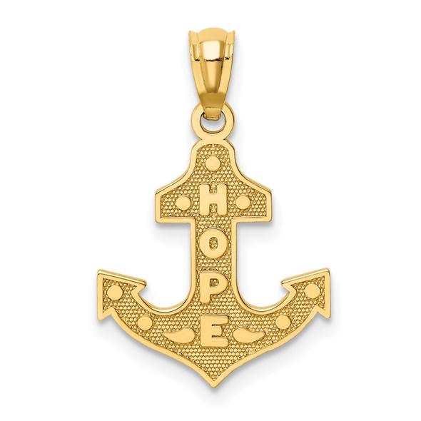14k Yellow Gold Satin and Polished Hope Anchor Pendant