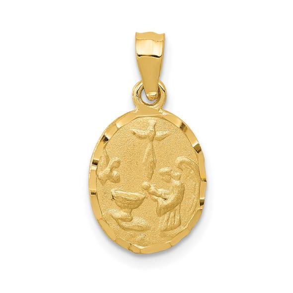 14k Yellow Gold Satin and Diamond-cut Baptism Pendant
