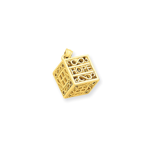 14k Yellow Gold Faith and Hope Prayer Box Pendant