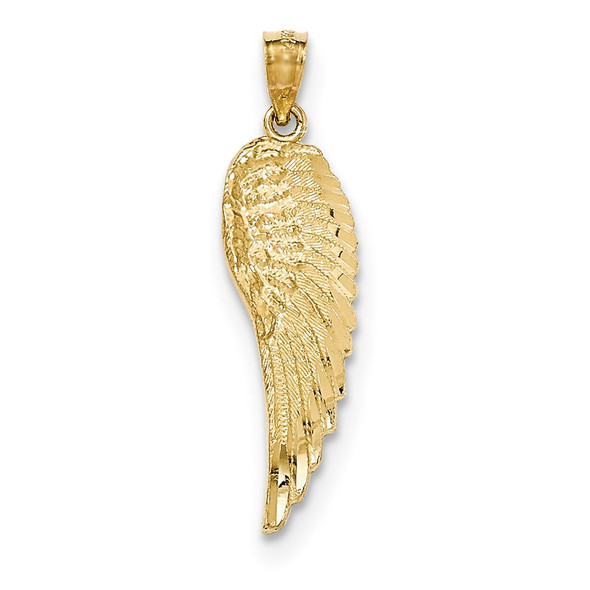 14k Yellow Gold Polished and Textured Angel Wing Pendant